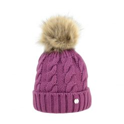 Hy Fashion Melrose Cable Knit Bobble Hat Ladies - Image