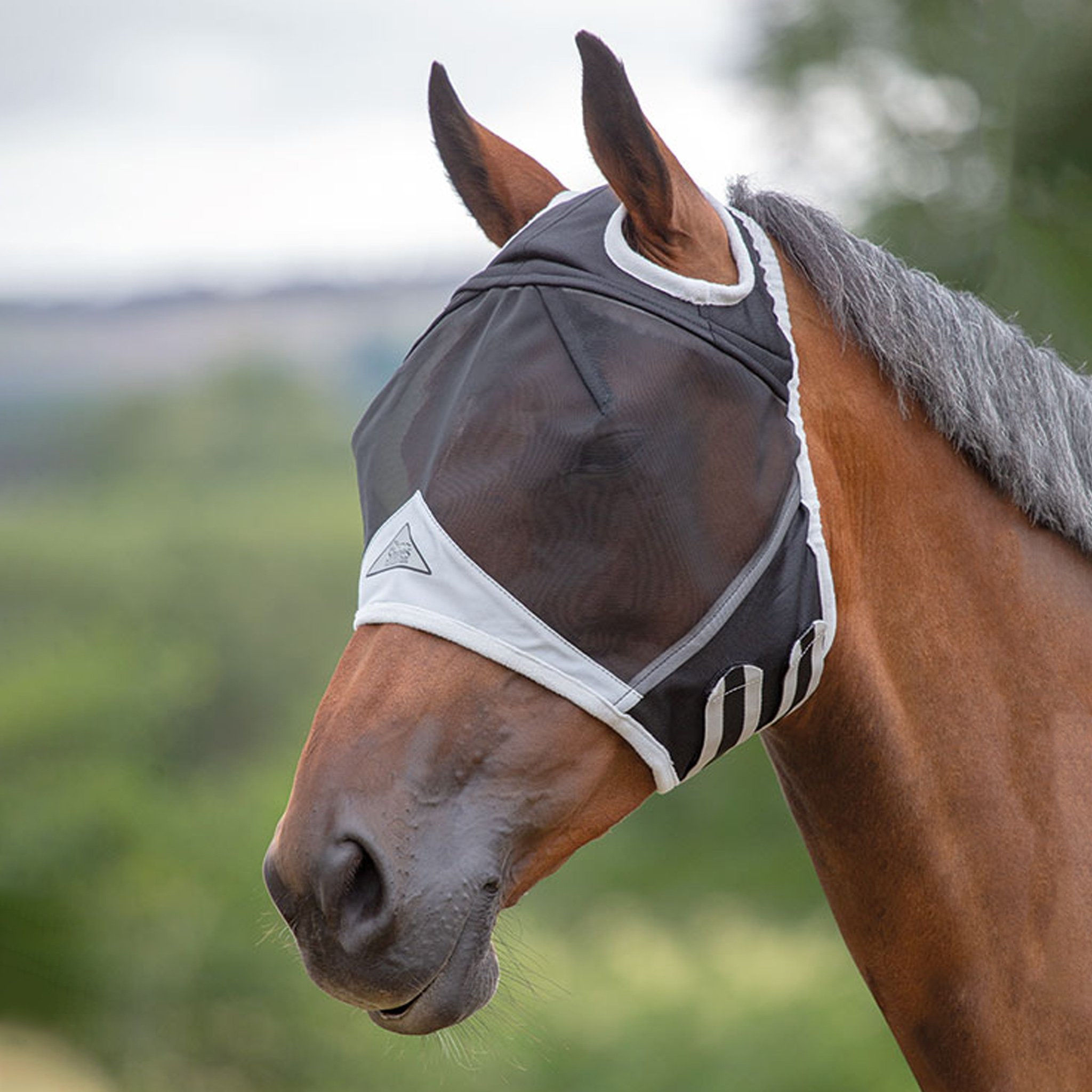 Black, Shires Fine Mesh Fly Mask with Ears